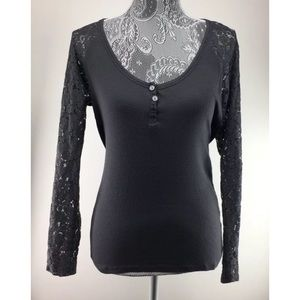Victorias Secret M Gray Shirt Lace Sleeves Henley